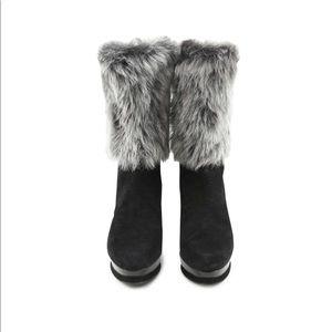 STUART WEITZMAN Suede Yetala Fur Boots
